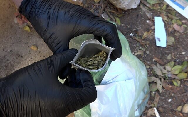 Police find bags of an illegal cannabis synthetic cannabinoid in the Haifa area, September 26, 2021. (Israel Police)