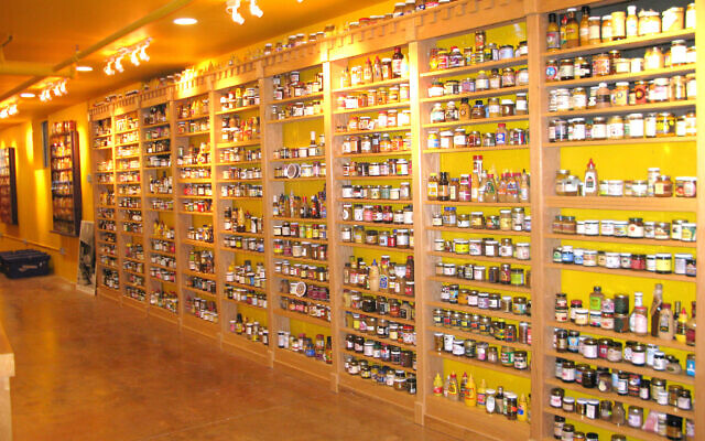A view of some of Barry Levenson's mustard museum's shelves. (Courtesy of Levenson/via JTA)
