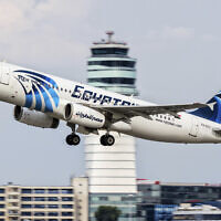 An EgyptAir Airbus A320 takes off from Vienna International Airport on August 21, 2015. (AP Photo/Thomas Ranner)