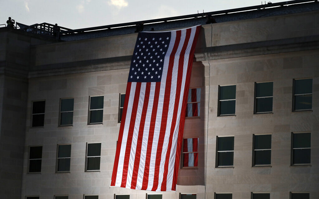 A US flag is unfurled at the Pentagon on the 16th anniversary of the September 11 attacks, on Monday, September 11, 2017. (AP/Jacquelyn Martin)