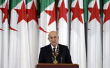 Algerian President Abdelmadjid Tebboune delivers a speech during an inauguration ceremony in the presidential palace, in Algiers, Algeria, December 19, 2019. (Toufik Doudou/AP)