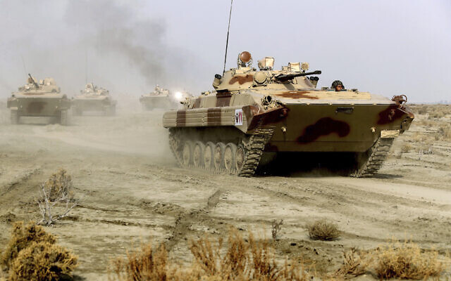 Illustrative: This photo released Tuesday, Jan. 19, 2021, by the Iranian Army, shows tanks moving during a military drill. (Iranian Army via AP)
