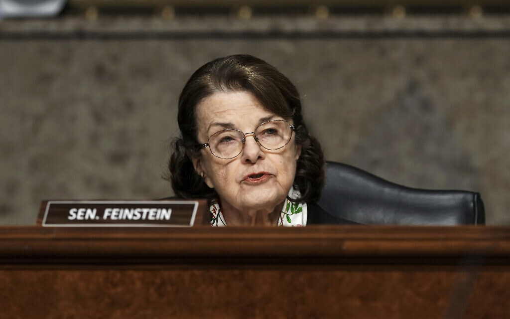 In this March 3, 2021 file photo, Sen. Dianne Feinstein speaks during a Senate Committee on Homeland Security and Governmental Affairs and Senate Committee on Rules and Administration joint hearing examining the January 6 attack on the US Capitol in Washington, DC (Greg Nash/Pool Photo via AP, File)