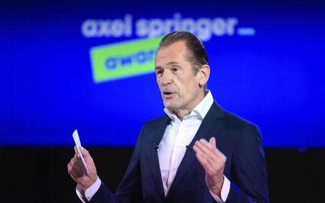 Mathias Doepfner, CEO of Axel Springer SE,  at the opening of the Axel Springer Award ceremony broadcast on the Internet Thursday, March 18, 2021. (Bernd von Jutrczenka/dpa via AP, Pool)