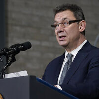 Pfizer CEO Albert Bourla speaks at a Pfizer manufacturing site, in Portage, Michigan, February 19, 2021. (Evan Vucci/AP)