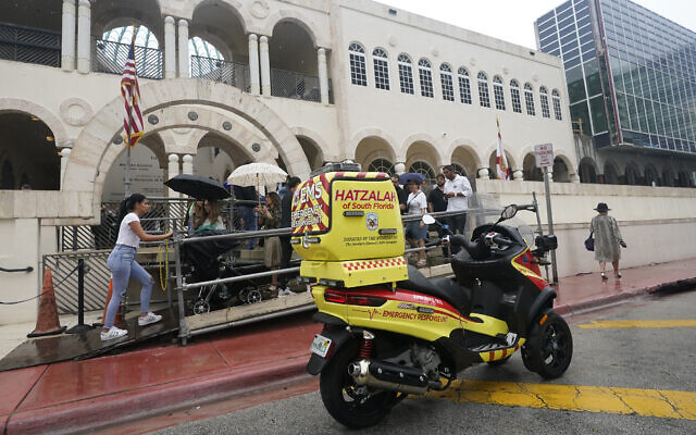 Illustrative: A scooter belonging to Hatzalah of South Florida, a volunteer emergency medical service organization serving mostly areas with Jewish communities, is shown parked outside the Shul of Bal Harbour, a Jewish community center in Surfside, Florida, June 14, 2021. (AP Photo/Wilfredo Lee)