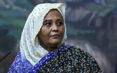 Sudan's Foreign Minister Mariam al-Sadiq al-Mahdi, a press conference in Moscow, Russia, July 12, 2021. (Russian Foreign Ministry Press Service via AP)