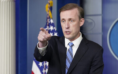 US National Security AdviserJake Sullivan speaks during the daily briefing at the White House in Washington, August 23, 2021. (Susan Walsh/AP)