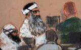 This Monday, Dec. 8, 2008 courtroom drawing by artist Janet Hamlin shows Khalid Sheikh Mohammed (center) and co-defendant Walid Bin Attash (left) attending a pre-trial session at Guantanamo Bay Naval Base, Cuba. (AP Photo/Janet Hamlin, Pool, File)