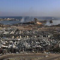 The scene the day after an explosion hit the seaport of Beirut, Lebanon, August 5, 2020. (Bilal Hussein/AP)