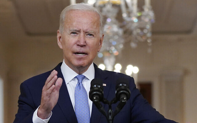 US President Joe Biden speaks about the end of the war in Afghanistan from the State Dining Room of the White House, Tuesday, Aug. 31, 2021, in Washington. (AP Photo/Evan Vucci)