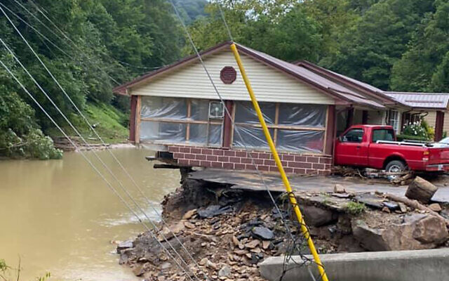 Damage from severe weather on August 30, 2021 in Hurley, Virginia. (Bristol Virginia Professional FireFighters Association via AP)