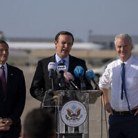 Sen. Chris Murphy, D-C.T., center, Sen. Chris Van Hollen, D-Md., right, and Sen. Richard Blumenthal, D-C.T., hold a press conference at the military airbase in Beirut airport, Lebanon, Wednesday, Sept. 1, 2021. A delegation of four U.S. senators visiting Lebanon promised to work on easing Lebanon's crippling economic crisis.  They later traveled to Israel and Tunisia. (AP Photo/ Hassan Ammar)