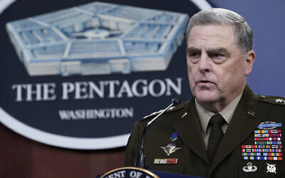 US Joint Chiefs of Staff Gen. Mark Milley speaks during a briefing with Secretary of Defense Lloyd Austin at the Pentagon in Washington, September 1, 2021, about the end of the war in Afghanistan. (AP Photo/Susan Walsh)