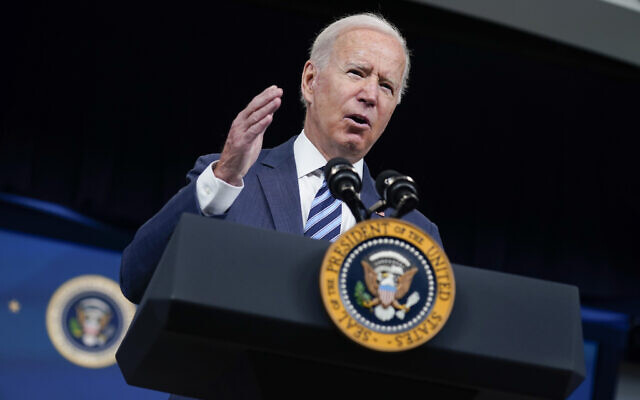 President Joe Biden speaks about the response to Hurricane Ida during an event in the South Court Auditorium on the White House campus, Thursday, Sept. 2, 2021, in Washington. (AP/Evan Vucci)