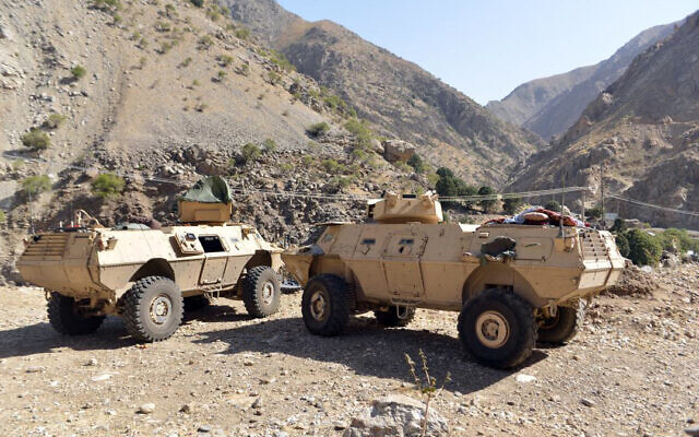 Armored vehicles are seen in Panjshir Valley, north of Kabul, Afghanistan, August 25, 2021. (AP Photo/Jalaluddin Sekandar)