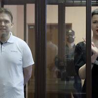 Belarus' opposition activists Maria Kolesnikova, right, and Maxim Znak attend a court hearing in Minsk, Belarus, September 6 2021. (Ramil Nasibulin/BelTA pool photo via AP)