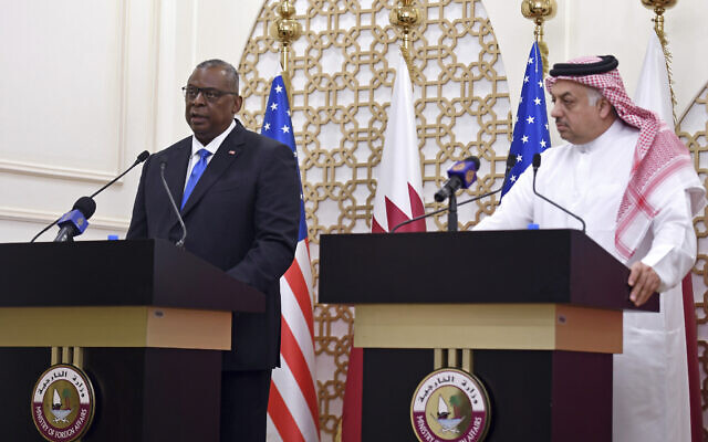 US Secretary of Defense Lloyd Austin speaks during a joint press conference with US Secretary of State Antony Blinken, Qatari Deputy Prime Minister and Foreign Minister Mohammed bin Abdulrahman al-Thani, and Qatari Defense Minister Khalid Bin Mohammed Al-Attiyah,  right, at the Ministry of Foreign Affairs in Doha, Qatar, September 7, 2021. (Olivier Douliery/Pool Photo via AP)