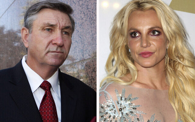 This combination photo shows Jamie Spears (left), father of Britney Spears, as he leaves the Stanley Mosk Courthouse on October 24, 2012, in Los Angeles; and Britney Spears at the Clive Davis and The Recording Academy Pre-Grammy Gala on February 11, 2017, in Beverly Hills, CA. (AP Photo)