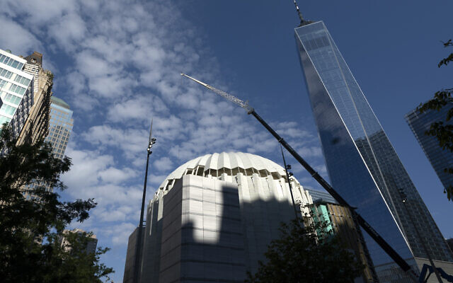 The St. Nicholas Greek Orthodox Church and National Shrine, center, is nearing completion, Wednesday, Sept. 8, 2021, at the World Trade Center in New York. (AP/Mark Lennihan)