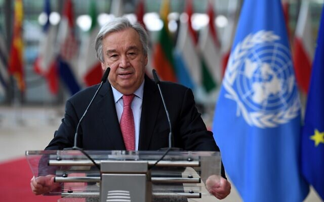 United Nations Secretary General Antonio Guterres addresses journalists during an EU summit at the European Council building in Brussels. on June 24, 2021. (John Thys, Pool Photo via AP, File)