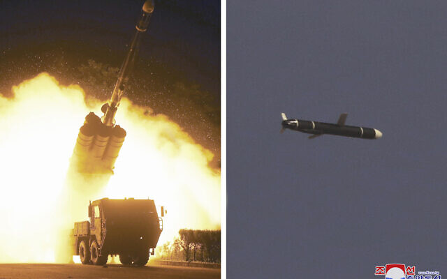 This combination of photos provided by the North Korean government on September 13, 2021, shows long-range cruise missiles tests held on September 11 -12, 2021 in an undisclosed location of North Korea. (Korean Central News Agency/Korea News Service via AP)