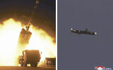 This combination of photos provided by the North Korean government on Monday, Sept. 13, 2021, shows long-range cruise missiles tests held on Sept. 11 -12, 2021 in an undisclosed location of North Korea.  (Korean Central News Agency/Korea News Service via AP)