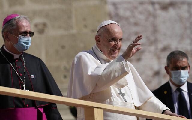 Pope Francis arrives at the Cathedral of Saint Martin, in Bratislava, Slovakia, Monday, Sept. 13, 2021. (AP Photo/Petr David Josek)