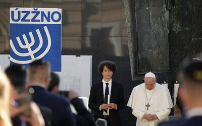 Pope Francis prays, as he meets members of the Jewish community in Bratislava, Slovakia, on September 13, 2021. (AP Photo/ Gregorio Borgia)