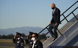 US President Joe Biden arrives on Air Force One at Long Beach Airport Monday, Sept. 13, 2021, in Long Beach, Calif., to attend a get out the vote rally for California Gov. Gavin Newsom who is facing a recall election. (AP Photo/Evan Vucci)
