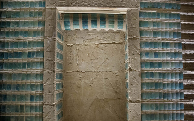 Inscriptions adorn the wall of the southern cemetery of King Djoser, after its restoration, near the famed Step Pyramid, in Saqqara, south of Cairo, Egypt, on Tuesday, September 14, 2021. (AP Photo/Nariman El-Mofty)