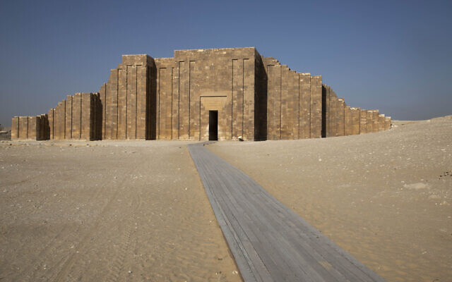 A path leads to the entrance of the southern cemetery of King Djoser, after its restoration, near the famed Step Pyramid, in Saqqara, south of Cairo, Egypt, September 14, 2021. (AP Photo/Nariman El-Mofty)