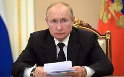 Russian President Vladimir Putin speaks during a meeting in Moscow, Russia, September 9, 2021. (Alexei Druzhinin, Sputnik, Kremlin Pool Photo via AP, File)