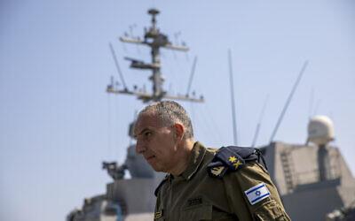 Vice Adm. Eli Sharvit arrives on board the Israeli Navy Ship Atzmaut in the Mediterranean Sea, September 1, 2021. (AP Photo/Ariel Schalit)