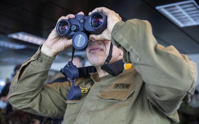 Vice Adm. Eli Sharvit looks out from aboard the Israeli Navy Ship Atzmaut in the Mediterranean Sea, September 1, 2021. (AP Photo/Ariel Schalit)
