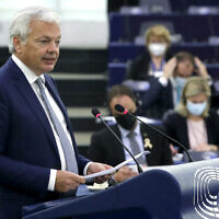 European Commissioner for Justice Didier Reynders speaks during a plenary session at the European Parliament in Strasbourg, France, September 15, 2021. (Yves Herman, Pool via AP)