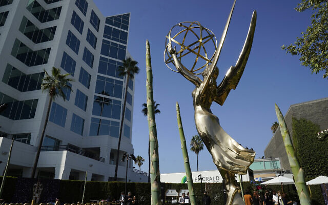 An Emmy statue is pictured during Press Preview Day for the 73rd Primetime Emmy Awards, September 14, 2021, at the Television Academy in Los Angeles. (AP Photo/Chris Pizzello)