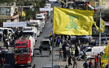 A convoy of tanker trucks carrying Iranian diesel crossed the border from Syria into Lebanon, arrive at the eastern town of al-Ain, Lebanon, on September 16, 2021. (AP Photo/Bilal Hussein)