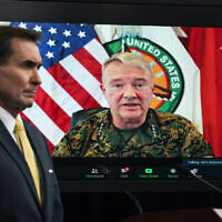In this Aug. 30, 2021, file photo Gen. Frank McKenzie, Commander of US Central Command, appears on screen as he speaks from MacDill Air Force Base, in Tampa, Fla., as he speaks about Afghanistan during a virtual briefing moderated by Pentagon spokesman John Kirby at the Pentagon in Washington. (AP/Manuel Balce Ceneta, File)