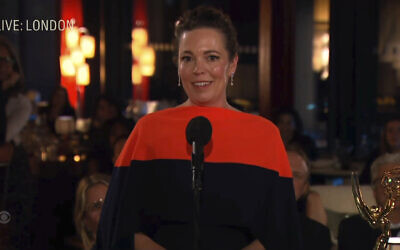 """In this video grab issued September 19, 2021, by the Television Academy, Olivia Colman accepts the award for outstanding lead actress in a drama series for """"The Crown"""" during the Primetime Emmy Awards. (Television Academy via AP)"""