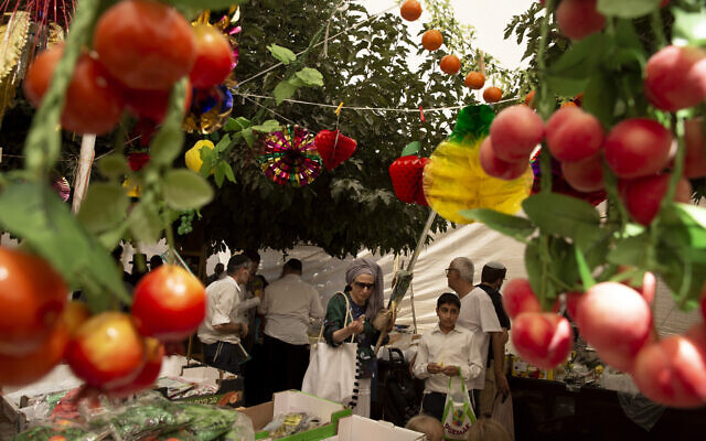 People shop for items to be used in rituals of the Jewish Sukkot holiday in Jerusalem, Sept. 20, 2021 (AP Photo/Maya Alleruzzo)