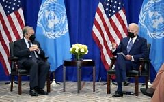 US President Joe Biden meets with United Nations Secretary General Antonio Guterres at the Intercontinental Barclay Hotel during the United Nations General Assembly, Monday, Sept. 20, 2021, in New York. (AP Photo/Evan Vucci)