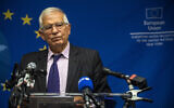 European Union foreign affairs chief Josep Borrell pauses while speaking to the press, in New York, September 20, 2021. (Brittainy Newman/AP)