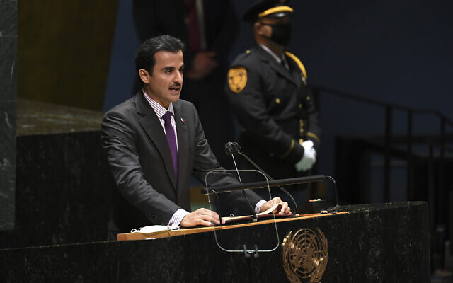 Sheikh Tamim bin Hamad Al Thani, Emir of Qatar, addresses the 76th Session of the UN General Assembly at United Nations headquarters in New York, on Tuesday, Sept. 21, 2021 (Timothy A. Clary/Pool Photo via AP)