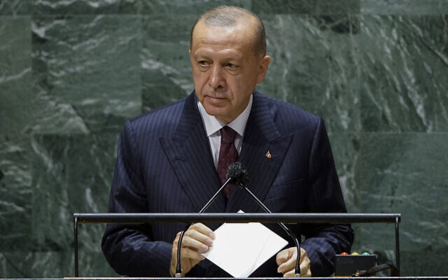 Turkish President Recep Tayyip Erdogan addresses the 76th Session of the United Nations General Assembly, on September 21, 2021, at the UN headquarters. (Eduardo Munoz/Pool Photo via AP)