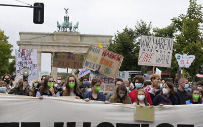 Swedish climate activist Greta Thunberg joins a Fridays for Future global climate strike in Berlin, Germany, September 24, 2021. (AP Photo/Michael Sohn)