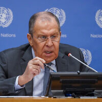 Russian Foreign Minister Sergey Lavrov speaks to reporters during a news conference during 76th session of the United Nations General Assembly,  at United Nations headquarters, September 25, 2021. (Mary Altaffer/AP)