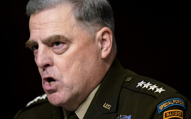 Chairman of the Joint Chiefs of Staff Gen. Mark Milley speaks during a Senate Armed Services Committee hearing on the conclusion of military operations in Afghanistan and plans for future counterterrorism operations, on Capitol Hill in Washington, September 28, 2021. (Patrick Semansky/AP)