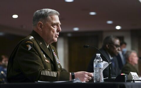 Chairman of the Joint Chiefs of Staff Gen. Mark Milley speaks during a Senate Armed Services Committee hearing on the conclusion of military operations in Afghanistan and plans for future counterterrorism operations, on Tuesday, September 28, 2021, on Capitol Hill in Washington, DC. (Sarahbeth Maney/The New York Times via AP, Pool)