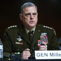 Chairman of the Joint Chiefs of Staff Gen. Mark Milley speaks during a Senate Armed Services Committee hearing on the conclusion of military operations in Afghanistan and plans for future counterterrorism operations on Sept. 28, 2021, on Capitol Hill in Washington. (AP Photo/Patrick Semansky, Pool)